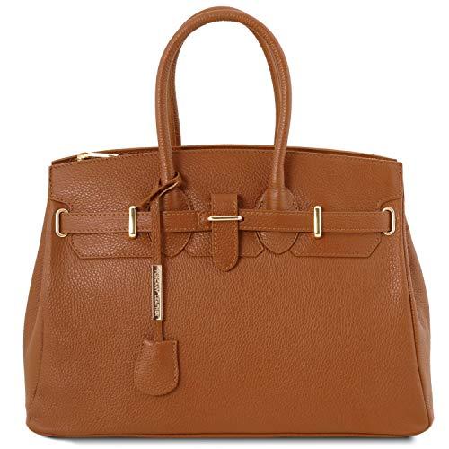 Tuscany Leather - TL Bag - Handtasche aus Leder mit goldfarbenen Beschäge - TL141529 (Cognac)