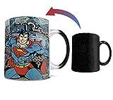 DC Comics - Superman - Retro Logo - One 11 oz Morphing Mugs Color Changing Heat Sensitive Ceramic Mug – Image Revealed When HOT Liquid Is Added!