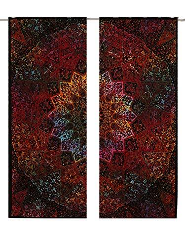 Mandala Tie Dye Star Boho Curtain Set Valances Room Divider 2 PC Panel Set Mandala Wall Hanging, Indian Curtains Mandala Window Treatment Door Hanging Window Curtains Drape Room Curtain