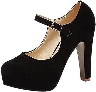¡Oferta de liquidación de Covermason! Zapatos de tacón cuadrado de moda para mujer Zapatos de tacón alto bajo flock(39 EU, Negro)