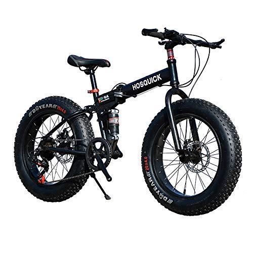 WYX Mountain Bike, 20 Pollici Fat Tire Hardtail Mountain Bike, Sospensione Doppia Telaio E Sospensioni Forcella all Terrain Mountain Bike, 7/21/24/27/30 velocità,Nero,20'× 7speed