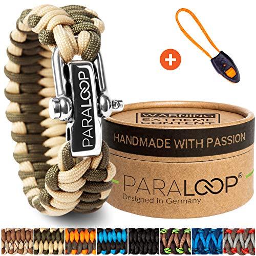 PARALOOP ORIGINAL Paracord Armband für Männer + Anhänger mit Signalpfeife in Handarbeit geflochten mit Geschenkbox Verschluss aus Edelstahl Armbänder Herren Grün Sand