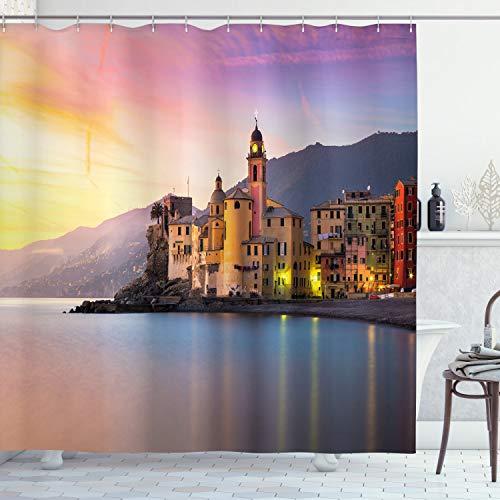 ABAKUHAUS Natur Duschvorhang, Alte mediterrane Stadt, mit 12 Ringe Set Wasserdicht Stielvoll Modern Farbfest und Schimmel Resistent, 175x200 cm, Gelb Pfirsich