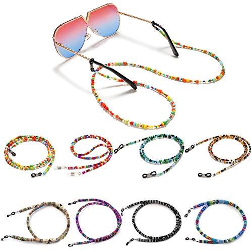 VEGCOO - 10 cadenas de gafas con cordón, 60 – 75 cm de longitud, con 2 anillas antideslizantes de silicona, apto para gafas de sol, gafas de lectura/gafas Colore(8 Pcs) M