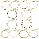 XIA YAN 12Pcs Silver Gold Anklets for Women Girls Layered Ankle Bracelets Set Chain Beach Anklet Foot Jewelry,Adjustable Size
