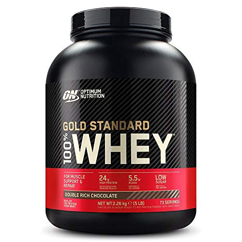 Optimum Nutrition ON Gold Standard 100% Whey Proteína en Polvo, Glutamina y Aminoácidos Naturales, BCAA, Double Rich Chocolate, 73 Porciones, 2.26kg, Embalaje Puede Variar