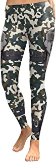 Women Fashion Cosplay Green Camo with Gun Print Mid Waist Leggings