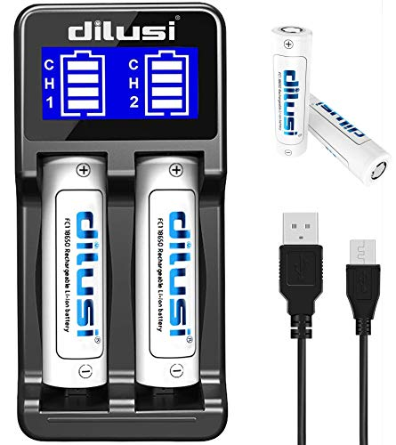 Dilusi P2 Intellicharger Caricabatterie intelligente per batterie agli ioni di litio e NiMH for 18650,18350,16340(RCR123),AA,AAA,AAAA,C,etc,rechargeable batteries 2 x 3000mAH l865O