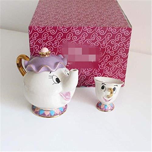 Die Schöne Und Das Biest Mrs Potts Keramik Vergoldung Teekanne Teetasse EIN Satz Kreative Karikatur Ursprüngliches Großes Geschenk Für Freunde, Weiß, Zweiteiliges Set