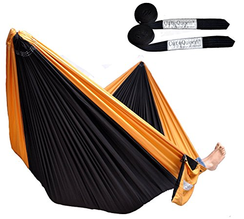 Cutequeen Trading Double Nest Ultralight Portable Outfitters Parachute Nylon Fabric Hammock for Travel Camping,Backpacking,Kayaking,Whit Tree Straps,Color: Black/Golden