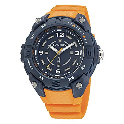 Nautica NAPCNF002 - Reloj de cuarzo para hombre, correa de resina, color naranja, 20 ocasiones casuales