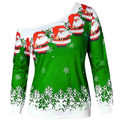 Camisas de Mujer,Sannysis Moda Mujer Adolescentes Navidad Papá Noel Impreso Skew Collar Blusa(Medium,Verde)