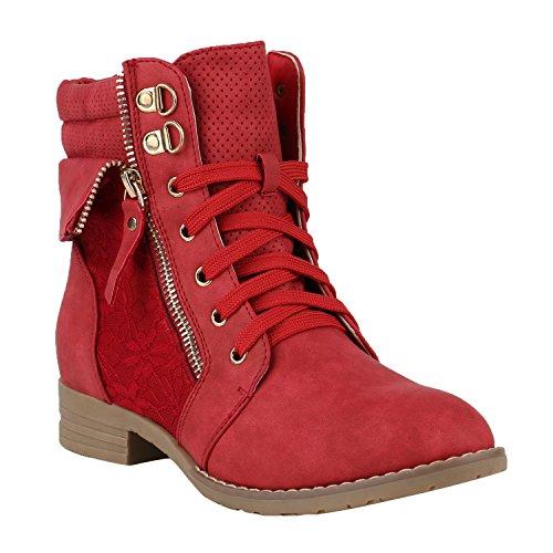 stiefelparadies Damen Stiefeletten Schnürstiefeletten Worker Boots Zipper Schuhe 144299 Rot Autol 39 Flandell