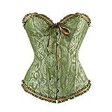 Grebrafan Corset Brocado con Brillantes Corpiños y corsés Floral Boned Bustier Bridal Lingerie (EU(38-40) XL, Verde)