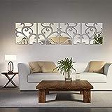 Adesivi da parete 3D a specchio, in acrilico motivo geometrico quadrato fai da te adesivi a specchio in plastica decorazione, per la casa, soggiorno, camera da letto, scale (floreale, 4 pezzi)