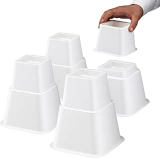 Design61 Lot de 8 rehausseurs de meubles réglables en hauteur (3 hauteurs différentes) - Rehausseurs lits, meubles et tables, Bed riser (4 hauts + 4 courts) pour pieds jusqu'à 68 x 68 mm, Blanc