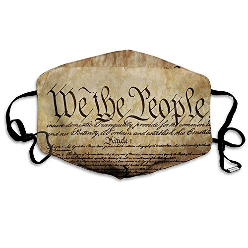Comfortable Printed mask, Vintage Constitution Text of America National Glory Fourth of July Image,Windproof Facial decorations for man and woman