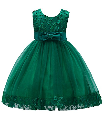 Girl Flower Lace Holiday Dresses for Baby Sleeveless Baptism Dress Casual Playwear Ball Gowns for Wedding Sundress A Line Tank Vintage Floral Knee Kids Tutu Size 3T-4T Wine Red (Dark Green, 6)