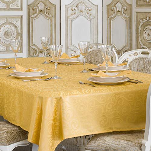 BGEUROPE Luxury Gold - Tovaglia con Trattamento Anti Macchie, Dimensioni Grandi, Colore:. Lyon, Oro, 59 x 118 (150 x 300cm)