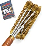 Grillaholics Pro Brass Grill Brush - Softer Brass Bristle Wire Grill Brush for Safely Cleaning...