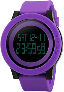 TONSHEN Unisex Digital Watch Plastic Case with Rubber Band 50M Waterproof Outdoor Military Electronic Multifunction Sport Watches Stopwatch Countdown Alarm (Purple)