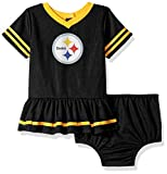 NFL Pittsburgh Steelers Team Jersey Dress and Diaper Cover, black/yellow Pittsburgh Steelers, 3-6 Months