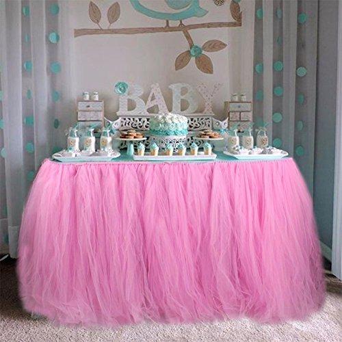Kicode Mantel de bricolaje Hilo Tul Falda de mesa Cumpleaños de la boda Baby Shower Decoración de escritorio de fiesta