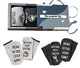 Wein-Socken + Kaffee-Socken Doppelpack Geburtstagsgeschenk für Männer und Frauen, WENN DU DAS...