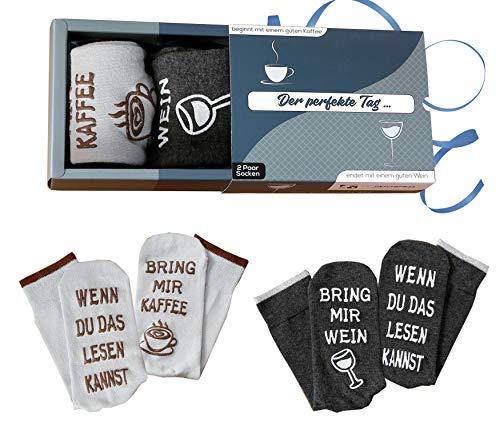 Wein-Socken + Kaffee-Socken Doppelpack Geburtstagsgeschenk für Männer und Frauen, WENN DU DAS LESEN KANNST, BRING MIR WEIN, Grau, 36-43