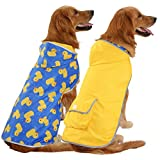 Reversible design: Two styles in one slicker poncho! Flip over dog rain gear and get a new look. Your doggie may go from a solid color raincoat to a quirky rubber ducky or floral pattern dog raincoat. Packable & easy to store: Dog raincoat for dogs i...