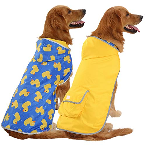 HDE Reversible Dog Raincoat Hooded Slicker Poncho Rain Coat Jacket for Small Medium Large Dogs (Yellow Ducks, XXL)
