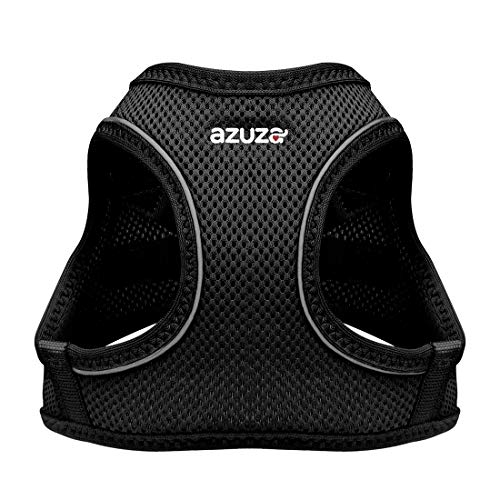 """azuza Dog Harness for Small Dogs, Reflective Air Mesh Dog Vest Harness, All Weather Comfort Puppy Harness for Small Dogs and Toy Breeds, Black, Chest Girth: 12""""-14"""""""