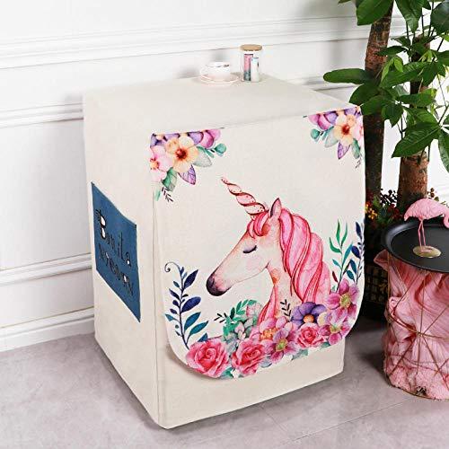 Coprilavatrice da Interno per Le lavatrici con Aperture Anteriori-Copri lavatrice-Unicorno rosso rosa_Larghezza 60 spessore 65 altezza 85 cm