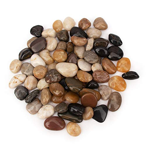 BLQH 18 Pounds Pebbles Aquarium Gravel River Rock, Natural Polished Decorative Gravel,Garden Ornamental River Pebbles Rocks, Polished Pebbles, Mixed Color Stones for Landscaping Vase Fillers (18.2)
