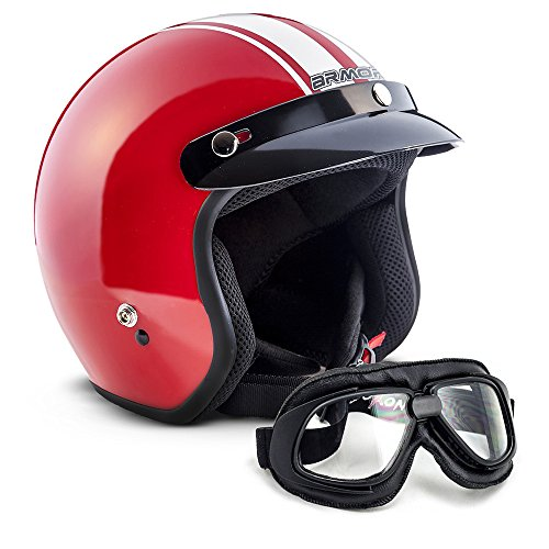 XS Brillante Noir ARMOR Helmets AF-77 Casque Moto Integral 53-54cm