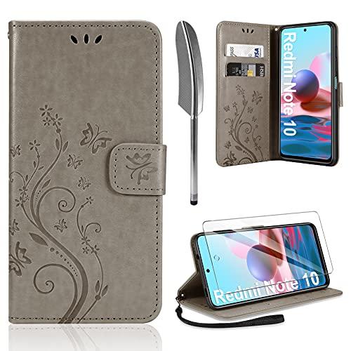 AROYI Cover Compatibile con Xiaomi Redmi Note 10 4G/Note 10S, Retro Design Flip Caso in PU Pelle Premium Portafoglio Slot per Schede Chiusura Magnetica Custodia Gray