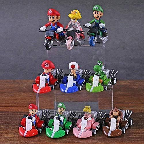 OYQQ Estatua modeloo Luigi Fishing Toad Gessi Donkey Kong Delete Kracing PVC Figuras De Acción Juguetes 10 Piezas/Juego