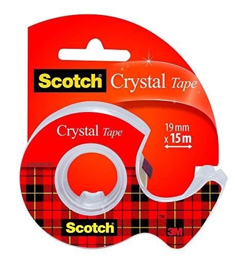 3M Scotch Crystal Tape Nastro Adesivo, Trasparente, 19 mm x 15 m
