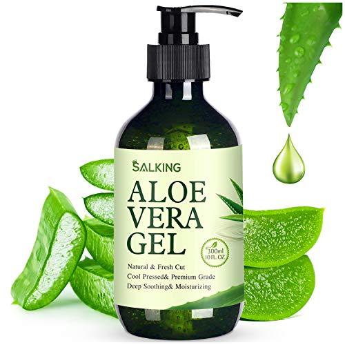 Aloe Vera Gel - SALKING 100% Aloe From Freshly Aloe Vera Plant - Pure Aloe Vera Gel for Face, Moisturizing Skin & Hair - Sunburn Relief,Acne and Minor Itching(10 oz)