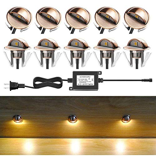 CHNXU Low Voltage LED Deck Lighting Kits with Transformer, 10 Pack IP65 Waterproof Outdoor Recessed Wall Patio Stairs Step Garden Yard Decorations Landscape Lights (Warm White, Bronze)