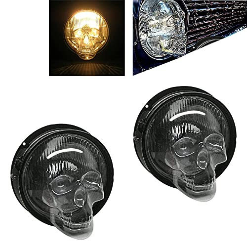 XIAORU 2pcs Skull Headlight Covers for Car, Skull Lampshade,Fashion Retro Pop Skull Lampshades, Punk Skeleton Headlights Shape for Car Cover (5.75inch)