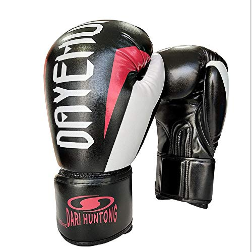 Boxhandschuhe Herren Boxhandschuhe Damen Boxhandschuhe Boxhandschuhe Spritzte Gummi-Sparring Taekwondo Kampf Handschuhe Muay Thai Sport und Outdoor-Spiele (Color : Black)
