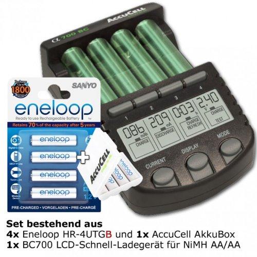 Technoline BC 700 Akku-Ladegerät schwarz mit 4x eneloop HR-4UTG und AccuCell AkkuBox AAA