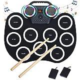 COSTWAY 9 Pads E-Drum LED, elektronisches Schlagzeug Set mit Bluetooth 7 Töne 10 Demos, Roll-Up-Trommel inkl. Pedale und Drumsticks für...