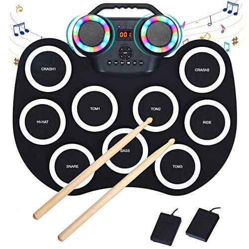 COSTWAY 9 Pads E-Drum LED, elektronisches Schlagzeug Set mit Bluetooth 7 Töne 10 Demos, Roll-Up-Trommel inkl. Pedale und Drumsticks für Kinder und Anfänger