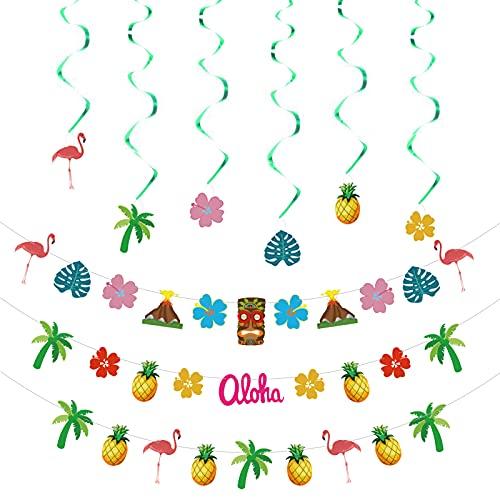 3 piezas hawaianas Aloha decoración de fiesta de piña colgante de flores de remolinos guirnalda tropical hawaiana para suministros de fiesta Luau verano playa Moana piscina fiesta decoración