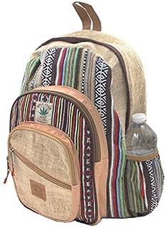 KayJayStyles Natural Handmade Large Multi Pocket Hemp Nepal Backpack