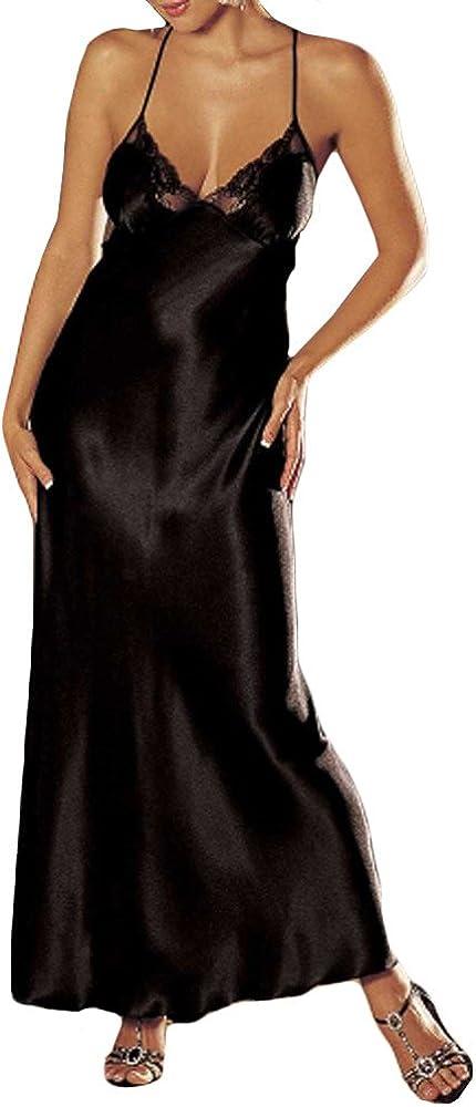 Women Sexy Satin Sleepwear Nightdress Lace Chemise Nightgown Nightshirt V-Neck Lingerie Lounge Dress