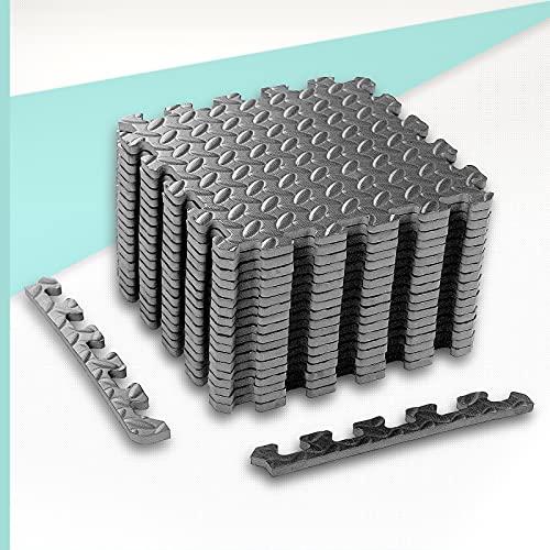 ZEERO Esterilla Puzzle para Suelos de Gimnasio y Fitness 30x30x1cm Suelo de Gimnasio de Goma Espuma EVA,18pcs, Color:Gris