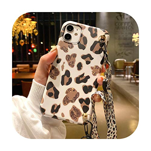 Leopard Print Phone Case For Samsung S20 Ultra S8 S9 S10 Note 8 9 10 Plus Luxury Necklace Neck Rope Strap Soft IMD Lanyard Cover-c-For S9Plus
